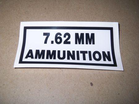Aufkleber: 7.62mm Ammunition