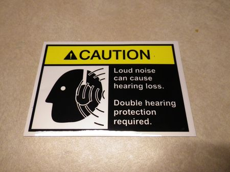Aufkleber WARNING Double Hearing Protection, US  M-Serie