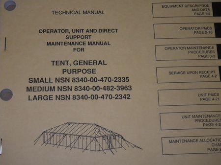 Technical Manual TM,  US ARMY Zelt,  GP Small, GP Medium, GP Large