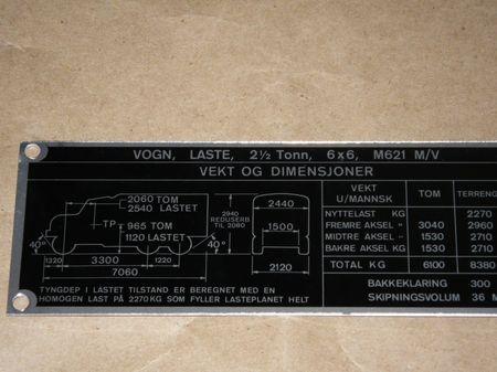 Dataplate M621 M/V  REO 2,5 ton