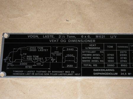 Dataplate M621 U/V  REO 2,5 ton