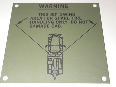 Hinweisschild Kranwagen M936 5ton US ARMY